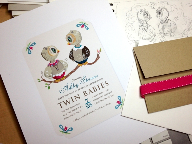 Owl artwork, baby shower invitation, tresa meyer clark