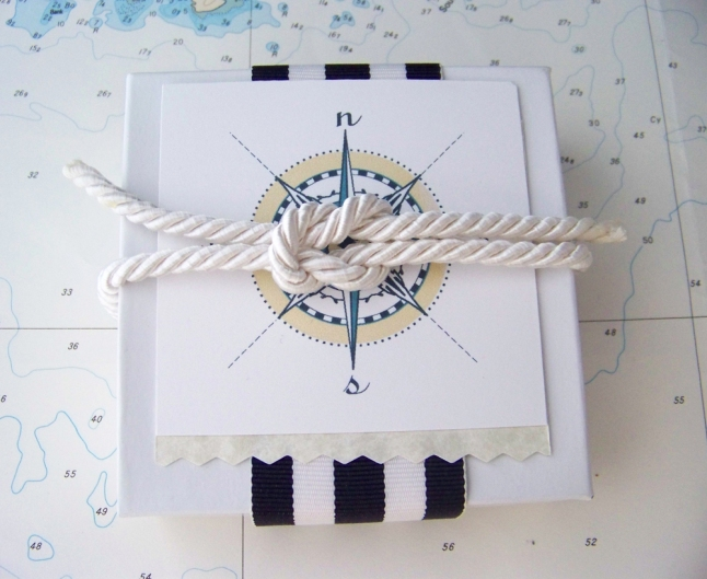 Presentation of nautical gift box for jewelry, and branding for MeyerClarkCreative on Etsy.com.