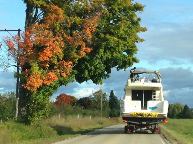 hauling, boat, fall, colors, change, daily press, photo challenge