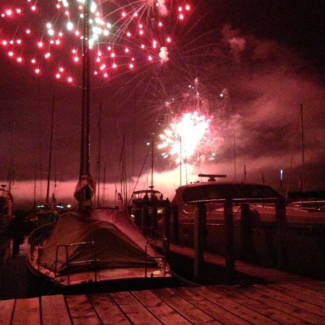 Northport, Marina, Fireworks, red pink summer, 2015, tresameyerclark, nautical, Great lakes, Lake Michigan,