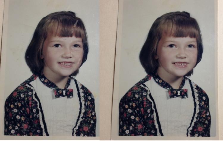first grade, photo, 1960's, retouched, back to school, school portrait, tresa meyer clark