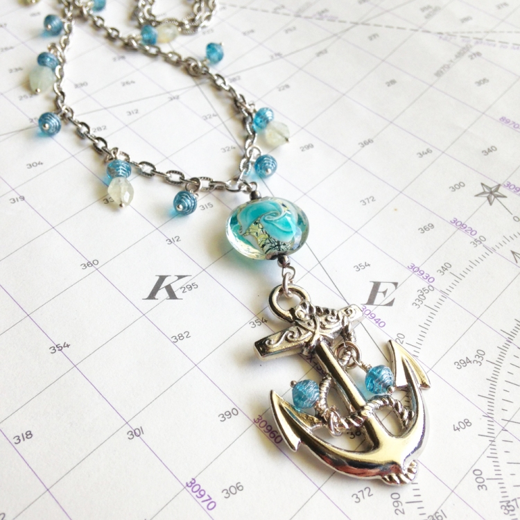 Nautical Anchor Necklace with Aquamarine Birthstones, Tresa MeyerClark, etsyshop