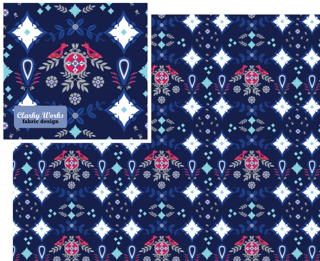 fabric design, red birds, minted challenge, tresa meyer clark. illustration, red, whit and blue, geometric design, flower design