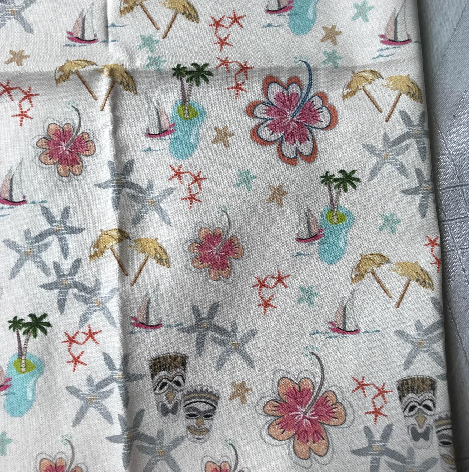 tiki Fabric, sail boat, palm trees, starfish, Hawaiian theme, tiki party, mid-century, tiki illustration, tresa meyer clark, fabric design,