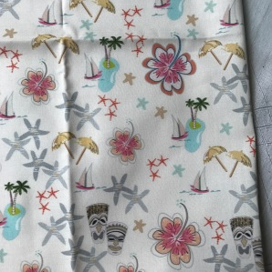 tiki Fabric, sail boat, palm trees, starfish, Hawaiian theme, tiki party, mid-century, tiki illustration, tresa meyer clark, fabric design,