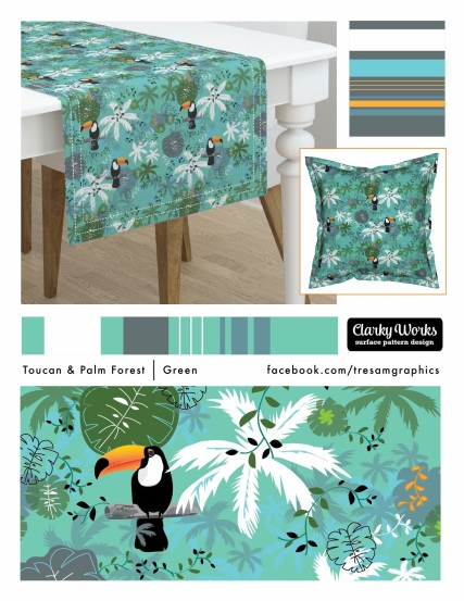 Surface pattern design by Tresa, Toucan and Palm Fabric Design, Clarky Works