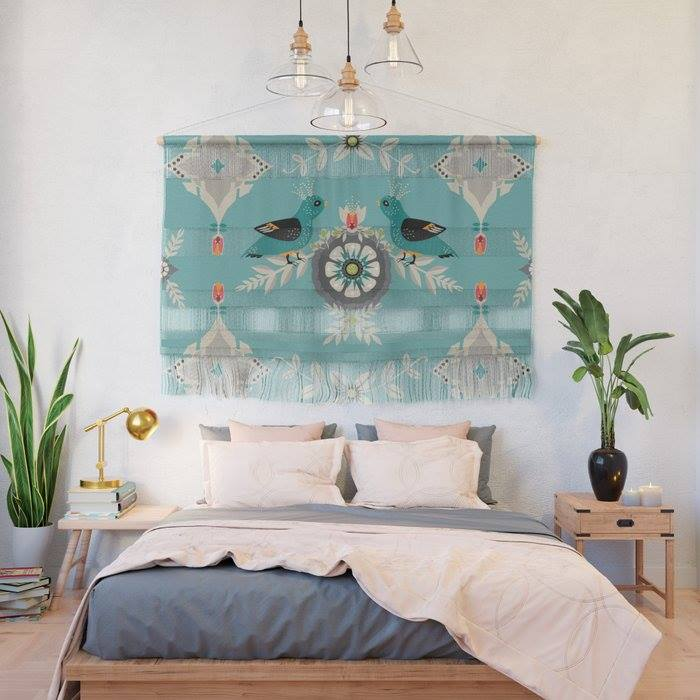 Artwork by Tresa Meyer-Clark, surface design, geometric, folk art, European motif, gothic motif, church architecture, Large format artwork, bird artwork, boho mix, unique artwork, modern feel, warm traditional, bedroom decor, wall hanging