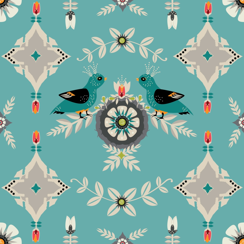 Digital Artwork by Tresa Meyer-Clark, DENMARK-GEOMETRIC Floral and Bird, Scandinavian Birds, geometric, folk art, European motif, gothic motif, church architecture, Large format artwork, bird artwork, boho mix, unique artwork, modern feel, warm traditional, bedroom decor, wall hanging, turquoise and gray