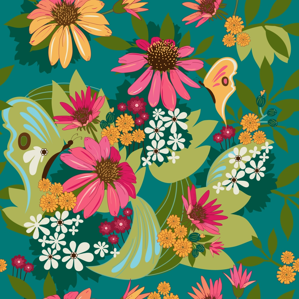 Digital Artwork by Tresa Meyer-Clark,  fabric designer, Boho Flower Power by Tresa, Floral artwork, folk art, 1970 floral, Large format artwork, boho mix, unique artwork, modern feel, warm traditional, bedroom decor, wall hanging, surface pattern, floral Illustration, Great Lakes wild flowers, cone flowers, pink, aqua