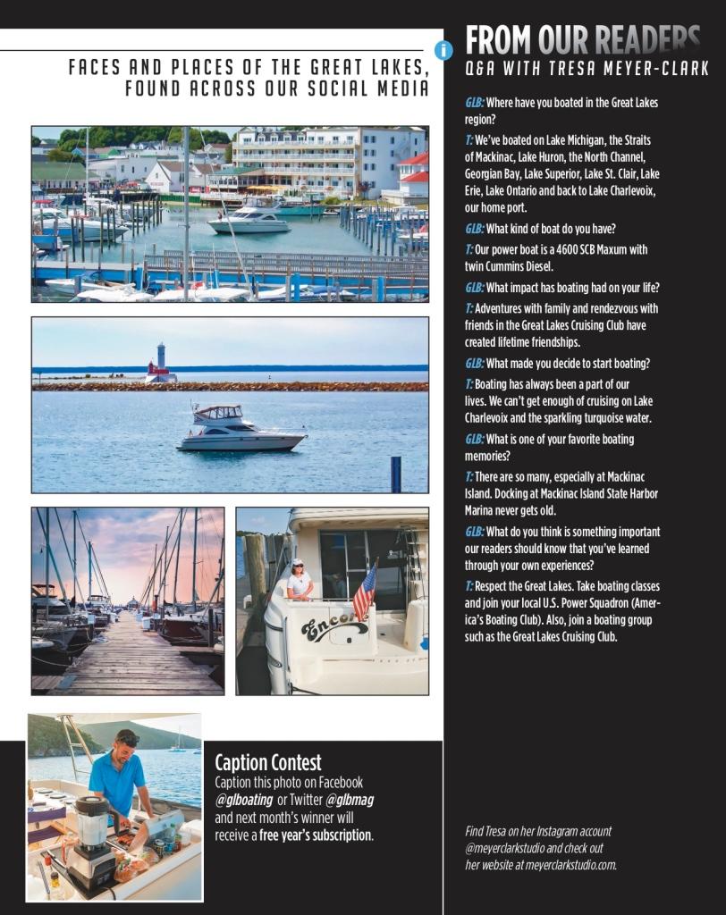 Tresa Meyer-Clark, Great Lakes, Boating magazine, May 2020, Mackinac Island, Northport, Michigan